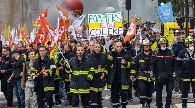 Manifestation des pompiers à Paris : Un pompier de Côte-d ...