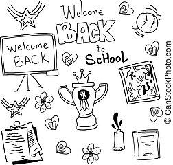 Doodles, blanc, education, noir, école. École ...