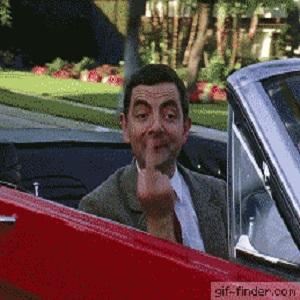 Gif Mr Bean doigt d'honneur