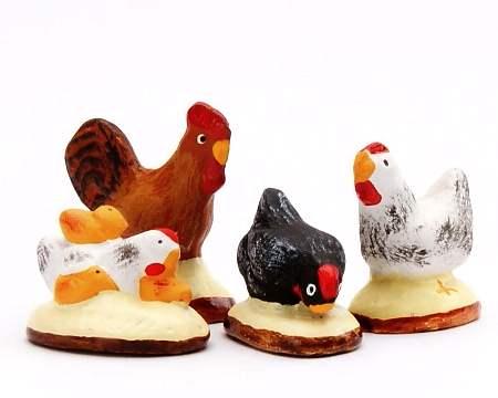 Santon Animaux : Coq + 3 poules | Provence Online Shopping