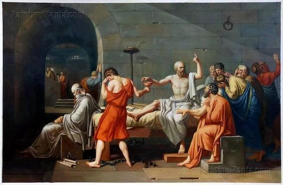 La mort de Socrate reproduction peinte à la main peinture ...
