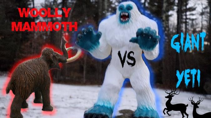 Giant Yeti  Toy Yeti Battles Woolly Mammoth  Toys For
