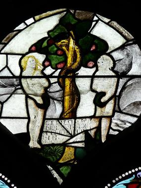 Photos de Vitraux - Adam et Ève et la pomme
