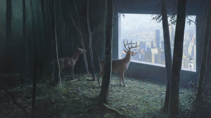 A deer is looking at New York through an apartment window, which has been invaded by tree. Although the city must certainly be noisy, the image feels very calm.