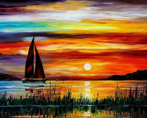 Exquise peinture, coucher de soleil mer bateau Fonds d ...