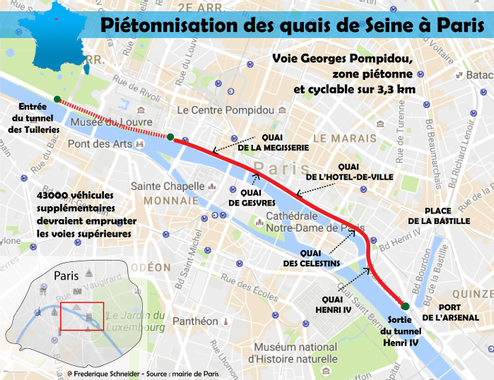 Piétonnisation des voies sur berge à Paris, quel tracé ...