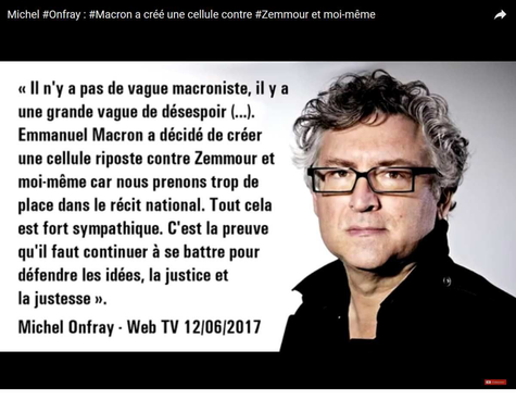 Michel Onfray : Macron a créé une cellule contre Zemmour ...