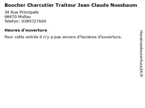 Numero telephone Boucherie Charcuterie Traiteur Jean Claude Nussbaum à Mollau